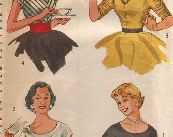 4213 Simplicity Sewing Pattern Blouse Choice Neckline Size 14 32B Vintage 1950s