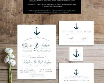 Printable Wedding Invitation Suite - the Ainsley Collection - Nautical Wedding Invitation