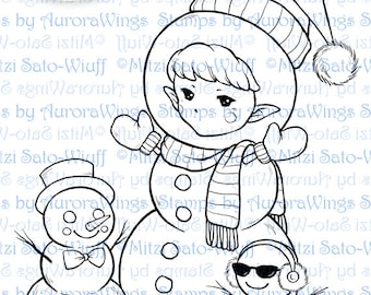 Digital Stamp - Snowman Sprite - Whimsical Holiday Image - Fantasy Line Art for Cards & Crafts by Mitzi Sato-Wiuff