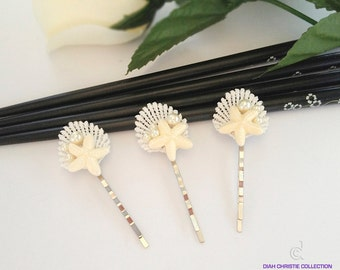 Ivory Beach Wedding Hair Accessories, Seashell Lace Bobby Pins, Starfish Bridal Headpiece, Summer Wedding, Bridesmaid Hair Accessories