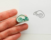 Tiny baby chameleon stamp, Funny lizard stationary, Reptile rubber stamp for paper, fabric printing, small Christmas gift stocking stuffer