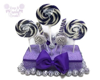 Purple Lollipop Centerpiece, Violet Candy Centerpiece, Purple candy Buffet, lavendar candy table decorations, wedding centerpiece ideas