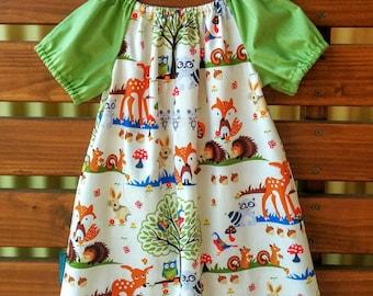 Girls Peasant Style Dress. Woodland Animals. Size 3