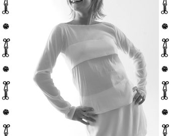 T-SHIRT WITH PLEAT, Submarine neck, white, jersey, viscose, business, long sleeve, transparent, classic