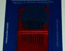 Fons & Porter Assorted size Binding Needles, quilting supplies, hand binding sizes 3/5/7, sewing needles, round eye nickel plated steel