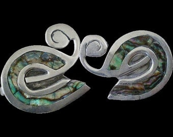 Charming TAXCO Mexico Mid-century 1950's Handwrought Maker Hallmarked Sterling Silver Abalone Inlay Abstract SWAN EARRINGS