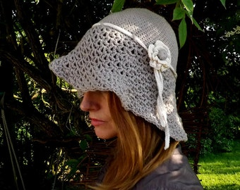 Ladies Cloche Hat. Boho Style, Crochet Hat. Woman's Crochet Hat. Pure Cotton, Floppy Brimmed Hat. Woman's Cute, Floppy Hat.