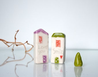 Mini HOUSES  /  Love you /  Smille / Thank you favor / Wedding Gift / Home Decor / Small House / Ceramic House