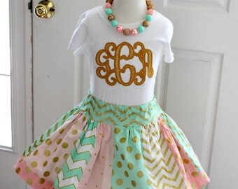 girls mint gold pink birthday outfit monogram shirt with chevron and polka dot skirt skirt set fall clothing family pictures for little girl