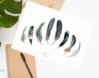 Feather watercolor art print. Black and white feather watercolor wall art. Black bird feather painting. Tribal wall art. Coastal beach decor