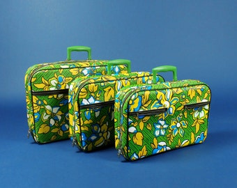 SALE! Flower Luggage Set - 1960s Green Floral Suitcase by A.D. Sutton & Sons  - Travel Case - Childrens Luggage