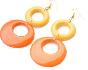 Mod earrings, Yellow Orange Hoop earrings, Mod Hoop earrings, Vintage 60s earrings, Handmade