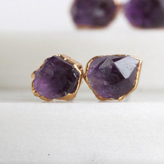 amethyst studs raw amethyst stud earrings by