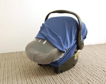 LITTLE BOY BLUE ||  Car Seat Canopy - Stretchy Car Seat Cover - Infant Baby Carrier Cover - Carseat Cover - Car Seat Cover