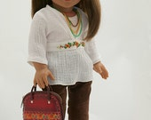 18 inch American Girl Doll Clothing. Hand Embroidered Gauze Blouse, Camisole, Corduroy Moto Pants, Leather Purse, Necklace & Earrings