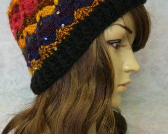 Multi colored crocheted beanie
