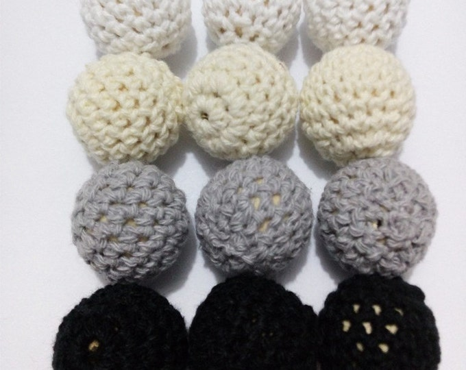 Wholesale Crochet Beads 20pc/lot 20mm Round Mix Color Ball Knitting Black/Gray/White/Cream