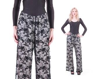 Black Lace Wide Leg Pants Flowy Palazzo 90s Vintage Boho Chic Summer Beach Clothing Womens Size Medium