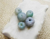 Polymer Clay Beads - 5 Rustic Beads - Faux Ancient Roman Glass Round Nuggets - Ice Blue, Iridescent, Gold, Violet, Bubble Inclusions - Poly