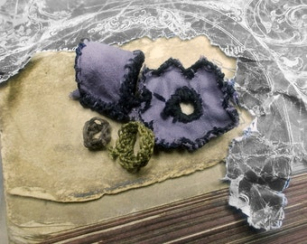 SALE Fiber Jewelry Components - 4 Fabric Beads - Spacer Rings, Floral Wheel, Tube - Dusty Lavender Cotton, Black Stitches - Macrame Caps
