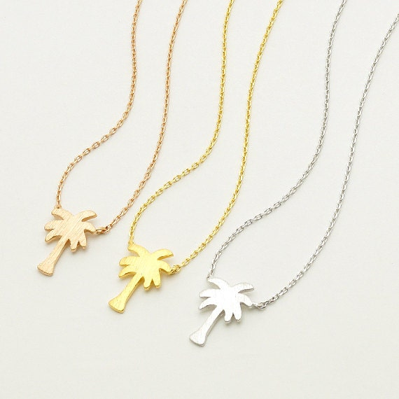 Palm Tree Necklace / tropical tree necklace, island life necklace, summer necklace, beach jewelry, tropical jewelry / N308
