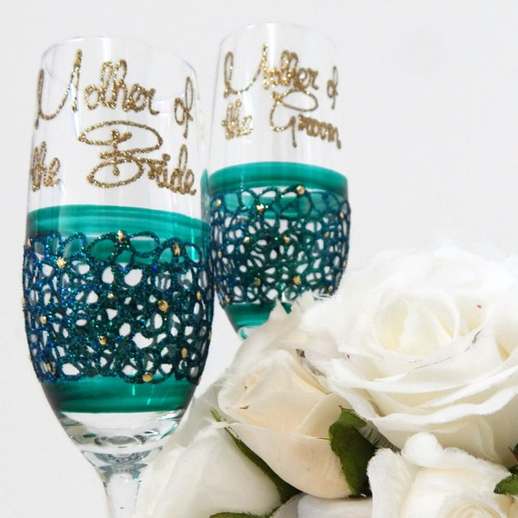 Personalised Wedding Gifts For Bride And Groom Australia : Mother of the Bride and Groom Glasses Emerald by InaSpinNiquesWay