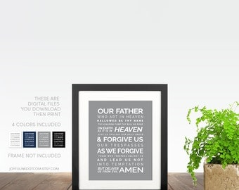Lords Prayer. Instant Digital Download Printable Art Catholic Christian 4 Colors Included. Our Father Who Art In Heaven Hallowed Be Thy Name