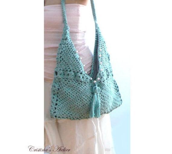 Sienna crochet tassels handbag. Envelope boho crochet purse, tote. Embellished blue crochet purse. Chic women crochet handbag