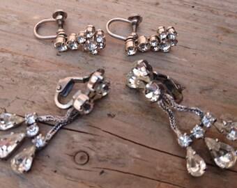 Two pairs of vintage rhinestone earrings