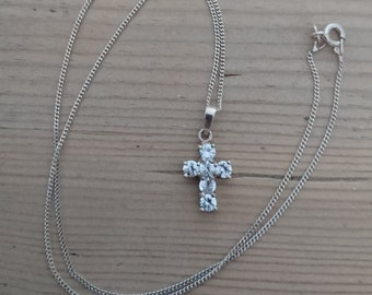 Vintage sterling silver cz cross and chain
