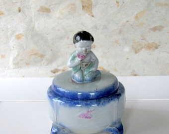 Vintage Blue Ceramic Trinket Holder with Seated Young Asian Girl Figurine