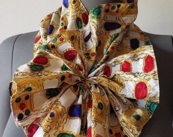 1970s Vintage Scarf by VIKKI Scarf Ascot Bow Ruffle Velcro Closure