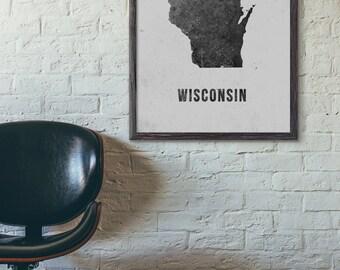 Wisconsin Map Printable, Modern Map Art, Printable Map, Loft, Cafe, Industrial Map, Scandinavian, Hotel Wall Art, 5x7 8x10 11x14 16x20, E049