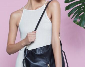 Black Leather Backpack Sling Handbag
