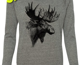 SALE Moose Sweatshirt Alternative Slouchy Pullover Crop Raglan, Yoga Top, Sizes S-XL