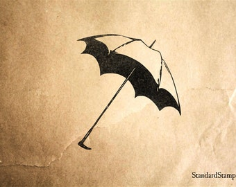 Lovely Umbrella Rubber Stamp - 2 x 2 inches