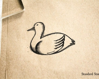 Woodcut Duck Rubber Stamp - 2 x 2 inches