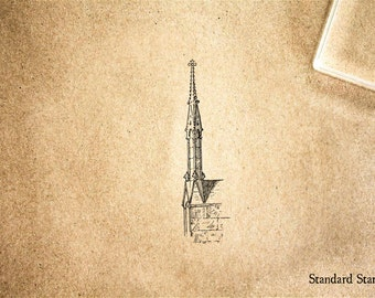 Church Steeple Rubber Stamp - 1 x 2 inches