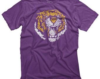 LSU Shirt, LSU Vintage 86 Tiger Shirt, Louisiana Shirt, Purple and Gold Tiger Shirt, Vintage lsu shirt, retro lsu shirt, Louisiana Gift