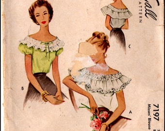 McCall's 7197  Misses' Vintage Tops from the 1940's