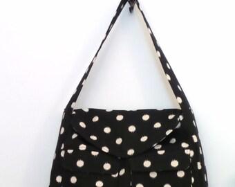 Tote Bag / Shoulder Bag / Tote /  Diaper Bag / travel tote / Handbag / Purse/ Satchel / Black and Natural Ikat Dot