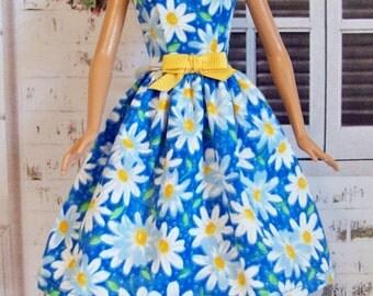 "Barbie Clothes - Handmade Blue and White Daisies Dress, Party Dress, Modest Dress, 11.5"" Fashion Doll Clothes, Blue Barbie Dress"