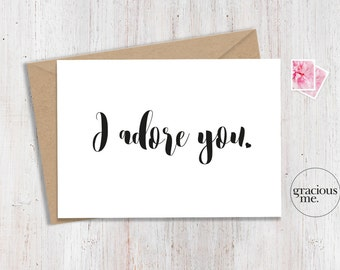 Love Card, 'I adore you', Anniversary Card