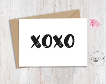 Love Card, XOXO, Anniversary Card - BW
