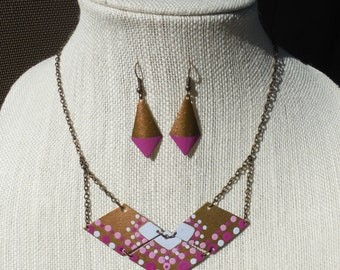 Hand Painted Brass Geometric Necklace and Earrings