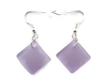 Light Purple Earring, Purple Sea Glass Earrings, Lavender Beach Glass Earring, Plum Dangle, Pale Purple Earring, Recycled Glass Earring