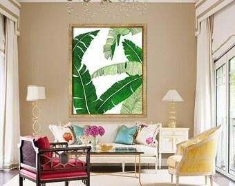 Banana Leaf Poster PRINTABLE FILE BG2 - palm art, palm illustration, banana leaf, beverly hills, extra large wall art, oversized art