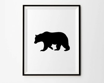 Bear, Bear Print, 5 x 7 in, 8x 10 in, 11 x 14 in, Black Bear Wall Art, Black and white print, Black Bear, Bear Wall Art, Printable Artwork