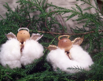 Cotton Boll Angel Ornaments, Gold or Silver