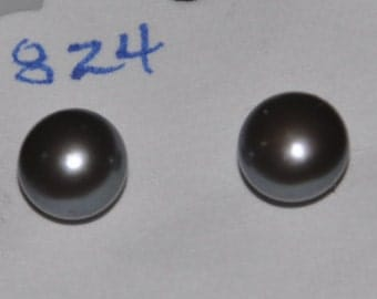 Genuine Pearl Earrings Silver Gray Gunmetal Cultivated #824